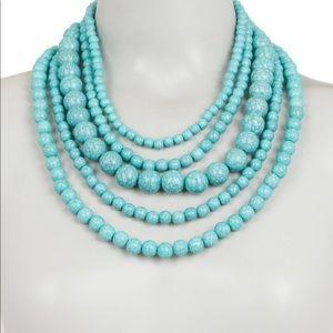 BaubleBar multi-strand aqua statement necklace